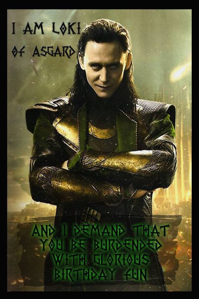 "Marvel Loki with dark hair in leather armor, arms folding, looking forward. Text--""I am Loki of Asgard. And I demand that you be burdended with g"