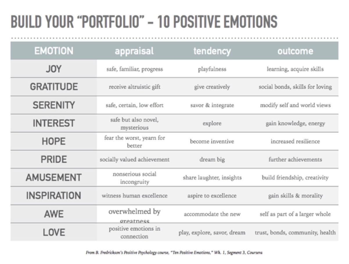 B. Fredrickson 10 Positive Emotions