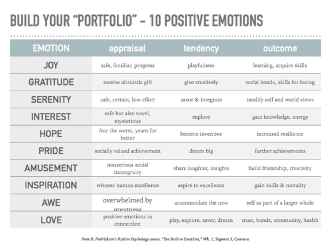 B. Fredrickson 10 Positive Emotions