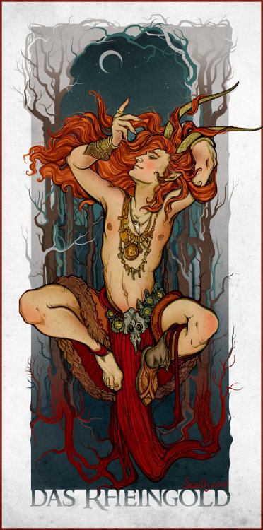 Loki depicted as a shirtless god with long red hair and horns. One boot missing. Jewelry, skull belt, hands above head. Bent knees. Dark trees and crescent moon in background.
