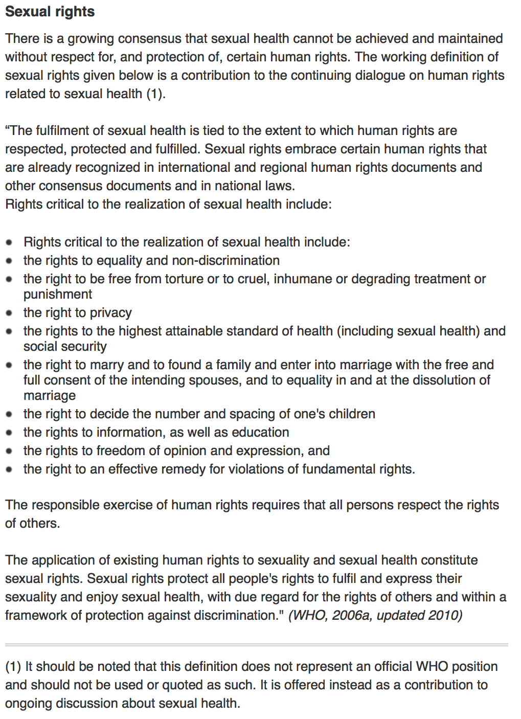WHO Sexual Rights